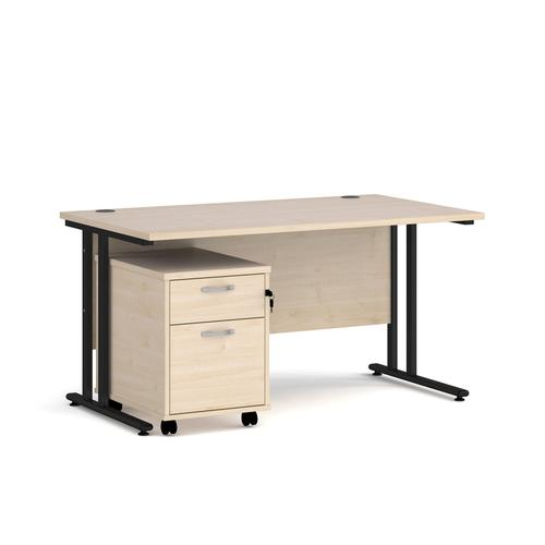 Maestro 25 straight desk 1400mm x 800mm with black cantilever frame and 2 drawer pedestal - maple