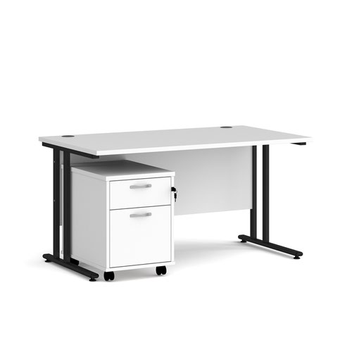 Maestro 25 straight desk 1400mm x 800mm with black cantilever frame and 2 drawer pedestal - white