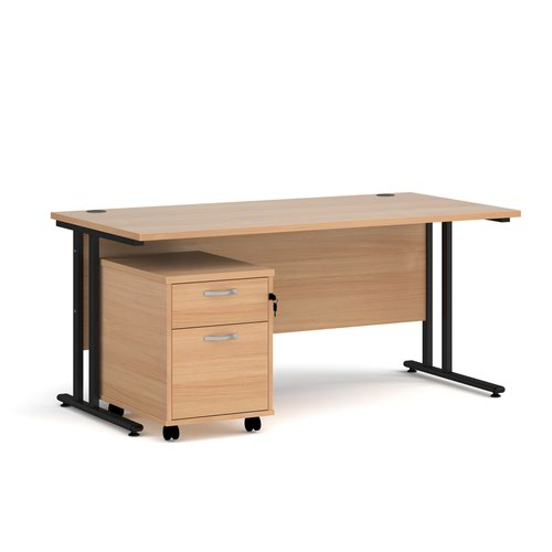 Maestro 25 straight desk 1600mm x 800mm with black cantilever frame and 2 drawer pedestal - beech