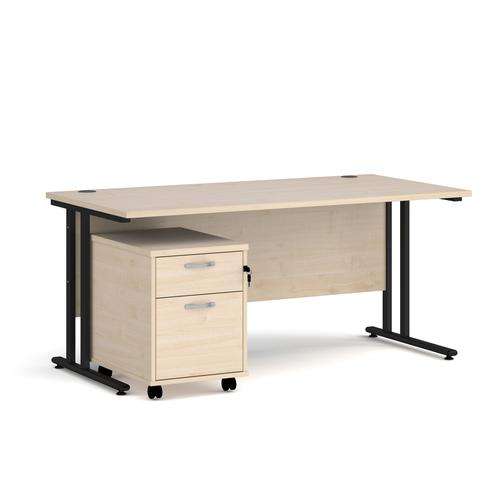 Maestro 25 straight desk 1600mm x 800mm with black cantilever frame and 2 drawer pedestal - maple