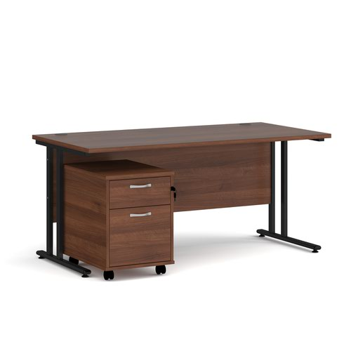 Maestro 25 straight desk 1600mm x 800mm with black cantilever frame and 2 drawer pedestal - walnut