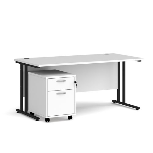 Maestro 25 straight desk 1600mm x 800mm with black cantilever frame and 2 drawer pedestal - white