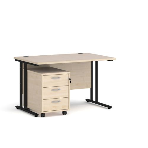 Maestro 25 straight desk 1200mm x 800mm with black cantilever frame and 3 drawer pedestal - maple