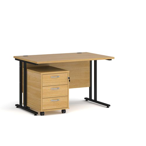 Maestro 25 straight desk 1200mm x 800mm with black cantilever frame and 3 drawer pedestal - oak