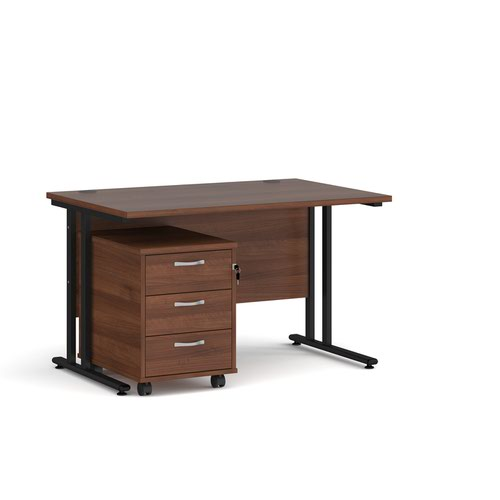 Maestro 25 straight desk 1200mm x 800mm with black cantilever frame and 3 drawer pedestal - walnut