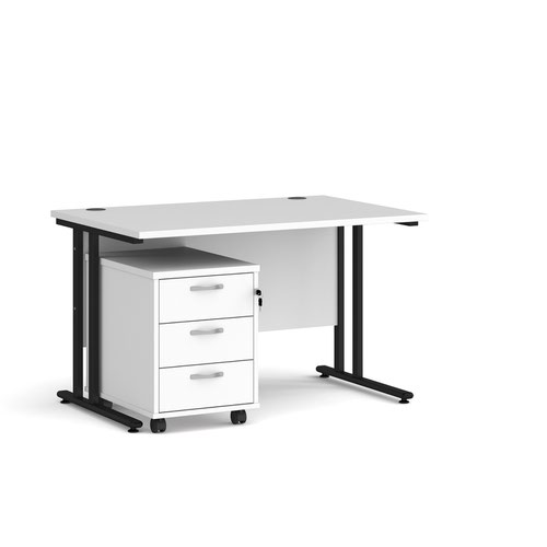 Maestro 25 straight desk 1200mm x 800mm with black cantilever frame and 3 drawer pedestal - white