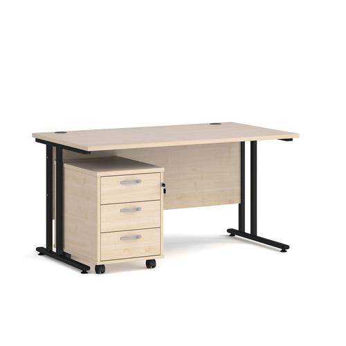 Maestro 25 straight desk 1400mm x 800mm with black cantilever frame and 3 drawer pedestal - maple