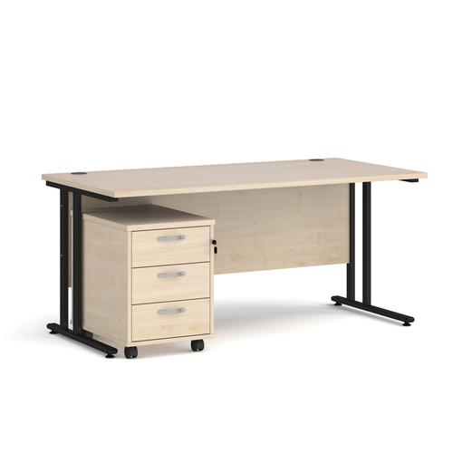 Maestro 25 straight desk 1600mm x 800mm with black cantilever frame and 3 drawer pedestal - maple