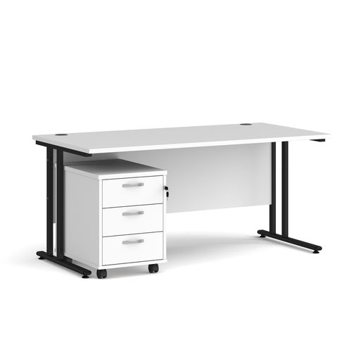 Maestro 25 straight desk 1600mm x 800mm with black cantilever frame and 3 drawer pedestal - white