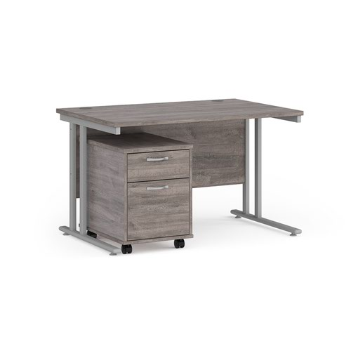 Maestro 25 straight desk 1200mm x 800mm with silver cantilever frame and 2 drawer pedestal - grey oak