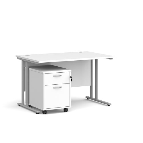 Maestro 25 straight desk 1200mm x 800mm with silver cantilever frame and 2 drawer pedestal - white