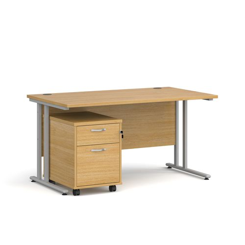 Maestro 25 straight desk 1400mm x 800mm with silver cantilever frame and 2 drawer pedestal - oak