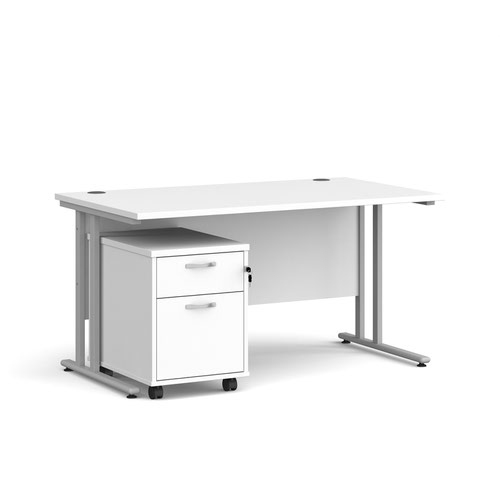 Maestro 25 straight desk 1400mm x 800mm with silver cantilever frame and 2 drawer pedestal - white