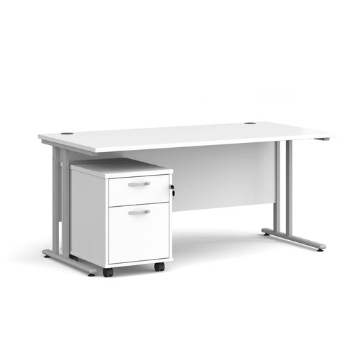 Maestro 25 straight desk 1600mm x 800mm with silver cantilever frame and 2 drawer pedestal - white