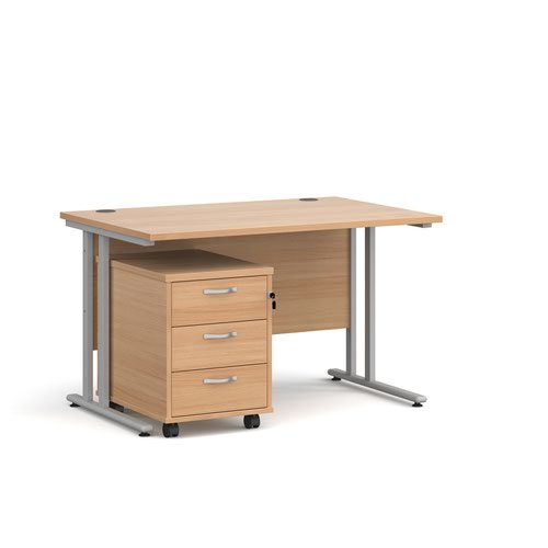 Maestro 25 straight desk 1200mm x 800mm with silver cantilever frame and 3 drawer pedestal - beech