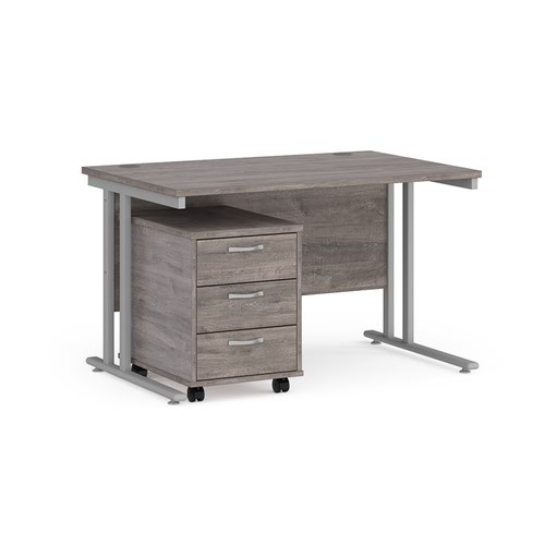 Maestro 25 straight desk 1200mm x 800mm with silver cantilever frame and 3 drawer pedestal - grey oak
