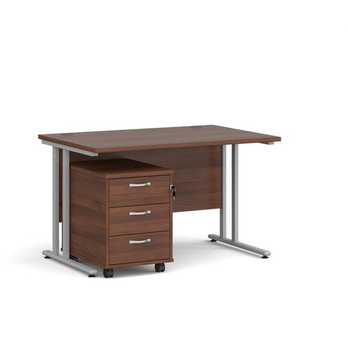 Maestro 25 straight desk 1200mm x 800mm with silver cantilever frame and 3 drawer pedestal - walnut