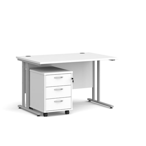 Maestro 25 straight desk 1200mm x 800mm with silver cantilever frame and 3 drawer pedestal - white