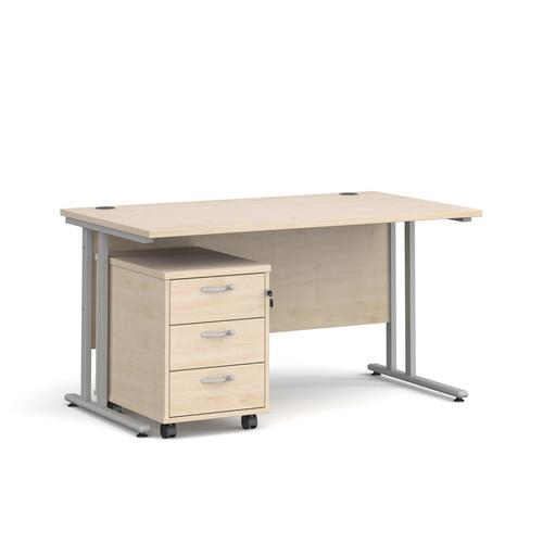 Maestro 25 straight desk 1400mm x 800mm with silver cantilever frame and 3 drawer pedestal - maple
