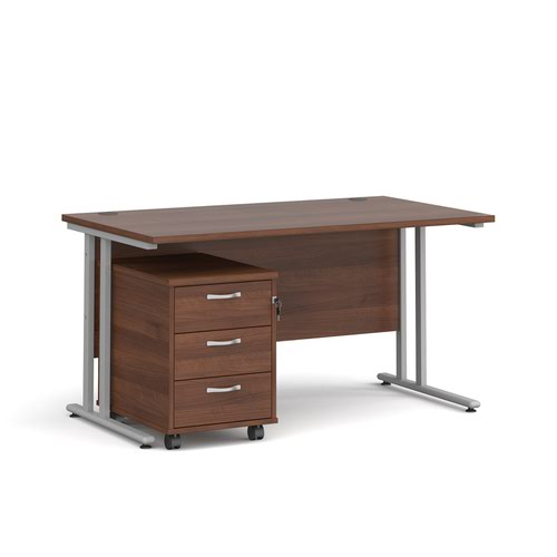 Maestro 25 straight desk 1400mm x 800mm with silver cantilever frame and 3 drawer pedestal - walnut