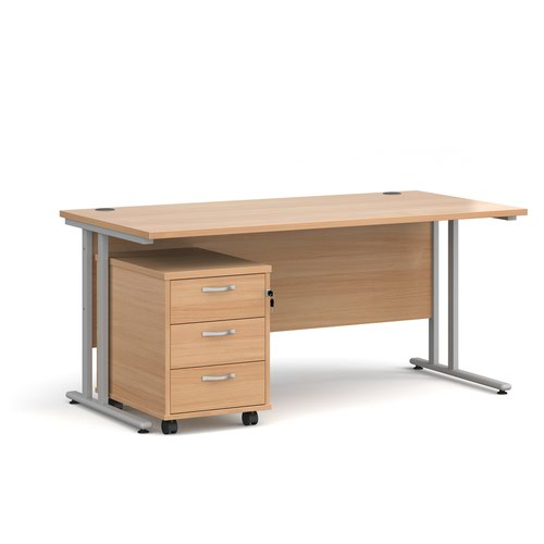 Maestro 25 straight desk 1600mm x 800mm with silver cantilever frame and 3 drawer pedestal - beech