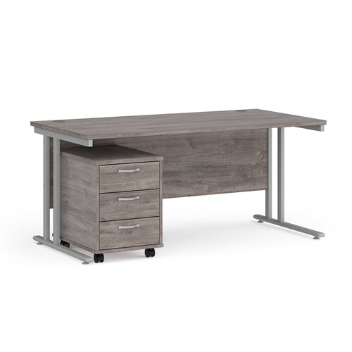 Maestro 25 straight desk 1600mm x 800mm with silver cantilever frame and 3 drawer pedestal - grey oak
