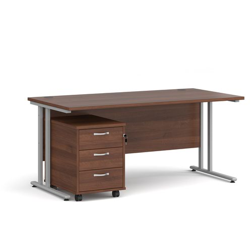 Maestro 25 straight desk 1600mm x 800mm with silver cantilever frame and 3 drawer pedestal - walnut