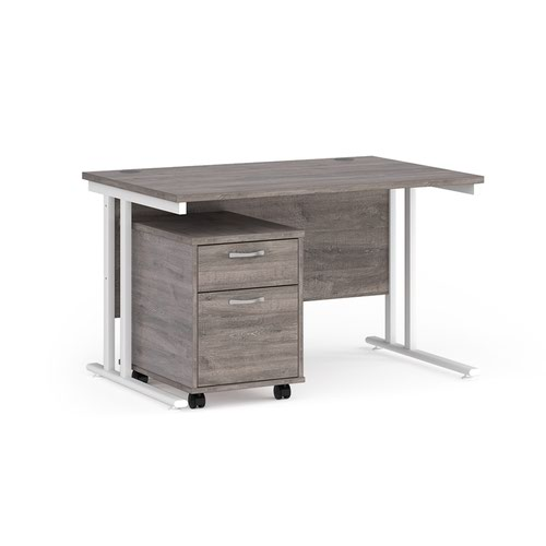 Maestro 25 straight desk 1200mm x 800mm with white cantilever frame and 2 drawer pedestal - grey oak