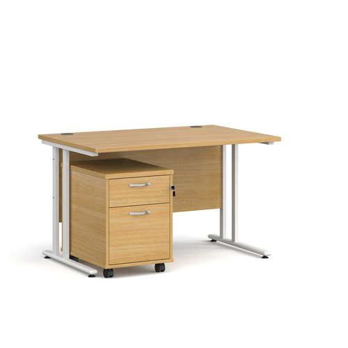 Maestro 25 straight desk 1200mm x 800mm with white cantilever frame and 2 drawer pedestal - oak