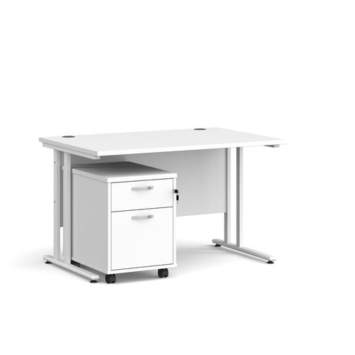 Maestro 25 straight desk 1200mm x 800mm with white cantilever frame and 2 drawer pedestal - white