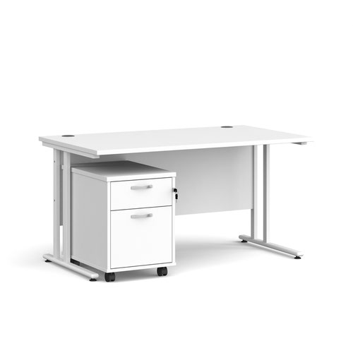 Maestro 25 straight desk 1400mm x 800mm with white cantilever frame and 2 drawer pedestal - white