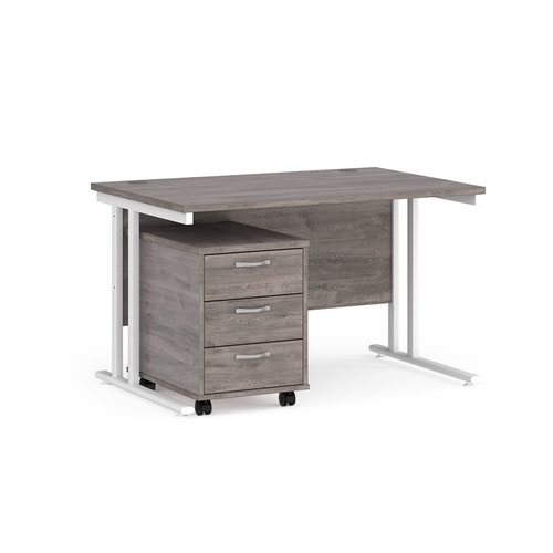 Maestro 25 straight desk 1200mm x 800mm with white cantilever frame and 3 drawer pedestal - grey oak