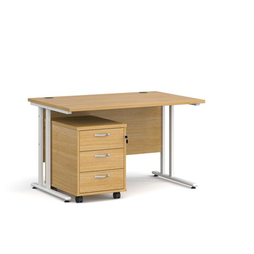 Maestro 25 straight desk 1200mm x 800mm with white cantilever frame and 3 drawer pedestal - oak