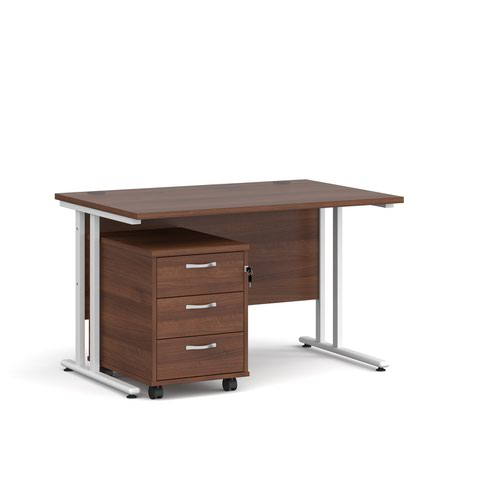 Maestro 25 straight desk 1200mm x 800mm with white cantilever frame and 3 drawer pedestal - walnut