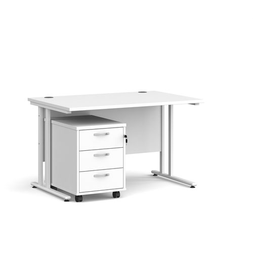Maestro 25 straight desk 1200mm x 800mm with white cantilever frame and 3 drawer pedestal - white