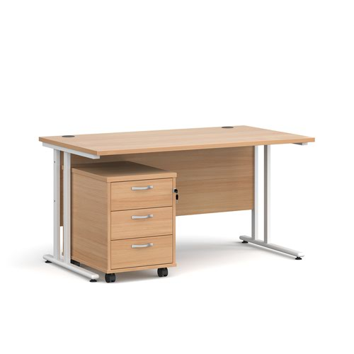 Maestro 25 straight desk 1400mm x 800mm with white cantilever frame and 3 drawer pedestal - beech