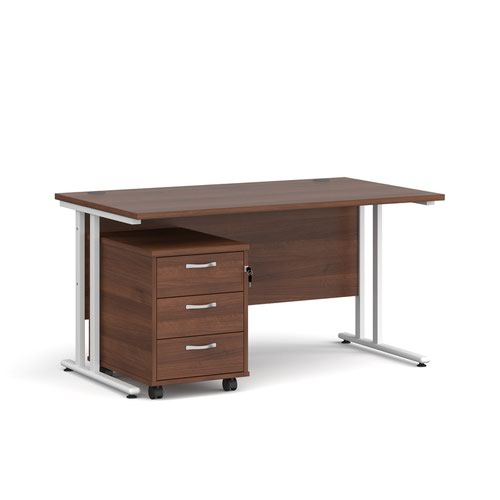Maestro 25 straight desk 1400mm x 800mm with white cantilever frame and 3 drawer pedestal - walnut