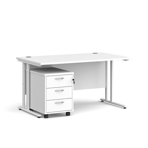 Maestro 25 straight desk 1400mm x 800mm with white cantilever frame and 3 drawer pedestal - white