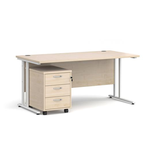 Maestro 25 straight desk 1600mm x 800mm with white cantilever frame and 3 drawer pedestal - maple
