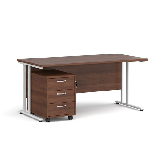 Maestro 25 straight desk 1600mm x 800mm with white cantilever frame and 3 drawer pedestal - walnut
