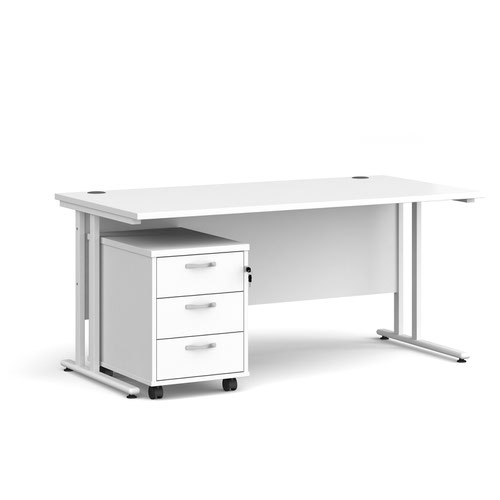 Maestro 25 straight desk 1600mm x 800mm with white cantilever frame and 3 drawer pedestal - white