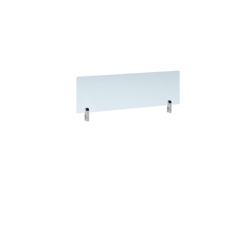 Desktop clear acrylic screen topper with white brackets 1000mm wide