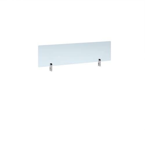Desktop clear acrylic screen topper with white brackets 1200mm wide