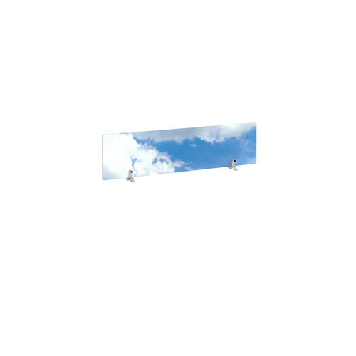 Desktop printed screen topper with brackets 1200mm wide - sky design
