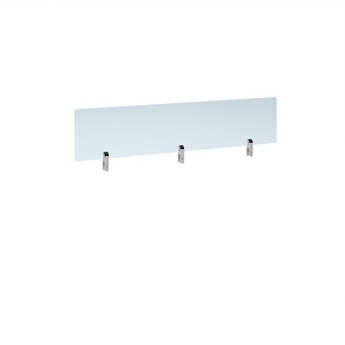 Desktop clear acrylic screen topper with white brackets 1400mm wide