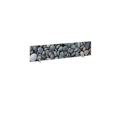 Desktop printed screen topper with brackets 1400mm wide - pebble design