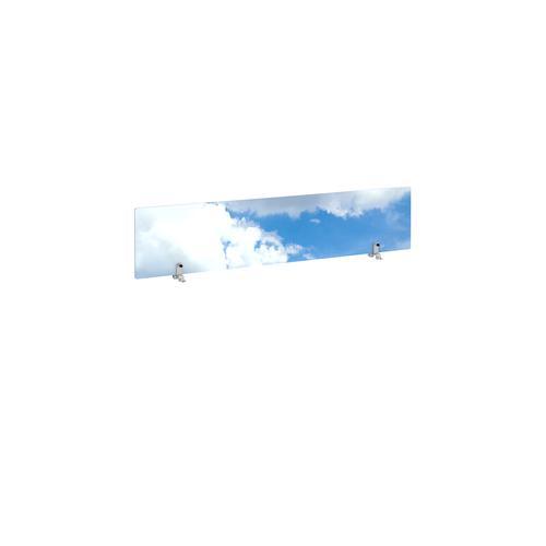 Desktop printed screen topper with brackets 1400mm wide - sky design