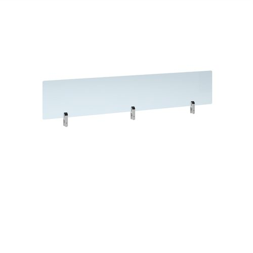 Desktop clear acrylic screen topper with white brackets 1600mm wide