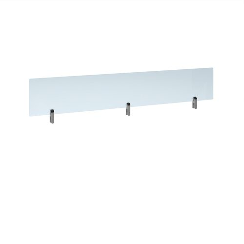 Desktop clear acrylic screen topper with silver brackets 1800mm wide