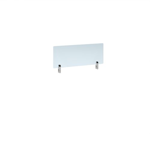 Desktop clear acrylic screen topper with white brackets 800mm wide